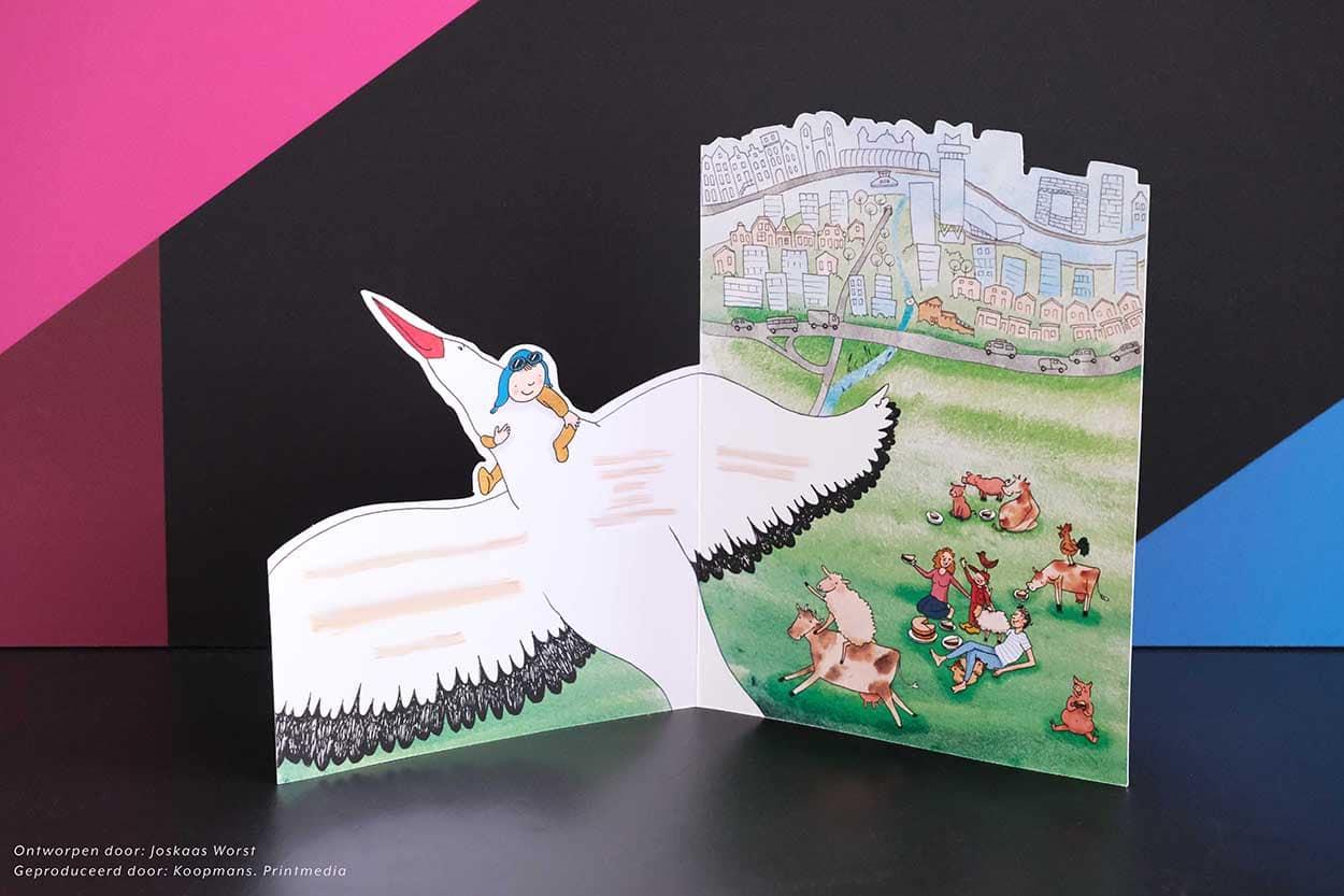 Geboortekaartje ontworpen door Joskaas Worst, geproduceerd door Koopmans. printmedia